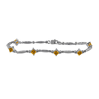 Genuine Yellow Citrine Sterling Silver 7.25 Inch Tennis Bracelet