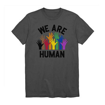 Unisex Adult Extended Size We Are Human Crew Neck Short Sleeve T-Shirt