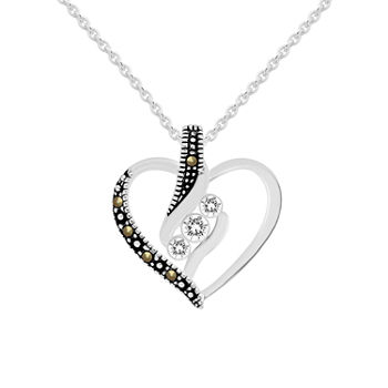 Sparkle Allure Marcasite Pure Silver Over Brass 18 Inch Cable Heart Pendant Necklace