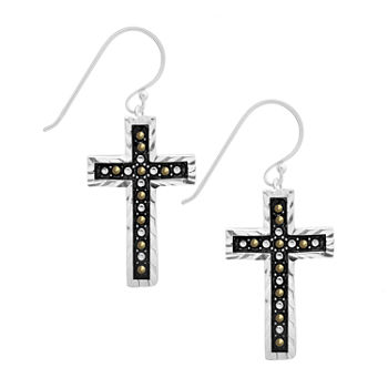 Sparkle Allure Marcasite Pure Silver Over Brass Cross Drop Earrings