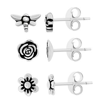 Silver Treasures Silver Treasures 3 Pair Flower Earring Set