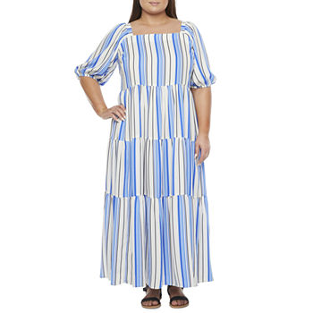 Melonie T-Plus Short Puffed Sleeve Striped Tiered Maxi Dress with Coordinating Face Mask