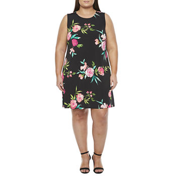 Jessica Howard Sleeveless Floral A-Line Dress-Plus