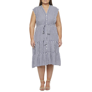 Melonie T-Plus Sleeveless Gingham Midi Fit & Flare Dress with Coordinating Face Mask