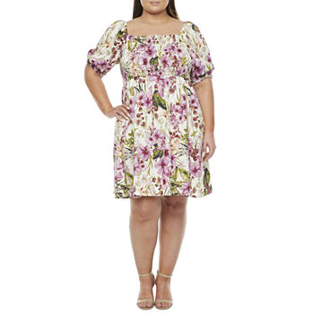 Melonie T-Plus Short Sleeve Floral Fit & Flare Dress with Coordinating Face Mask