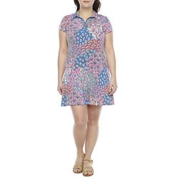 MSK-Petite Short Sleeve Animal Swing Dresses