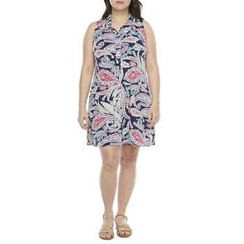 MSK-Petite Sleeveless Paisley Swing Dresses