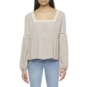 by&by Womens Square Neck Long Sleeve Babydoll Top-Juniors