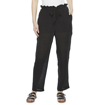 by&by-Juniors Womens High Rise Straight Pull-On Pants