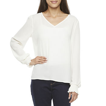 Worthington Womens V Neck Smocked Cuff Blouse - Plus