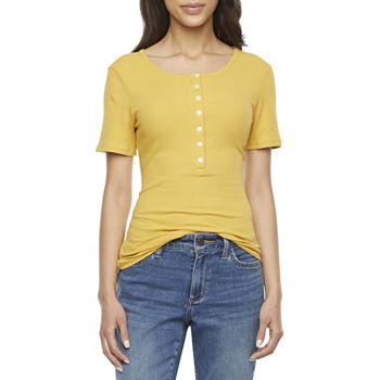 a.n.a Womens Henley Neck Short Sleeve T-Shirt