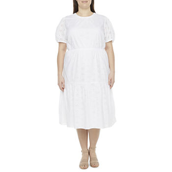 a.n.a-Plus Womens Eyelet Midi Dress