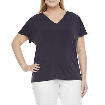 Liz Claiborne-Plus Womens V Neck Short Sleeve Knit Blouse
