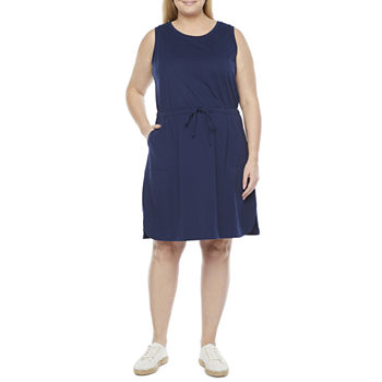 Liz Claiborne-Plus Sleeveless Shift Dress