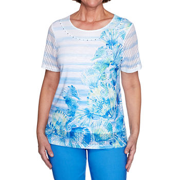 Alfred Dunner Sea You There Womens Round Neck Short Sleeve T-Shirt
