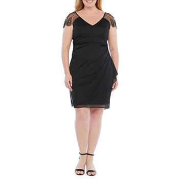 DJ Jaz-Plus Cap Sleeve Embellished Sheath Dress