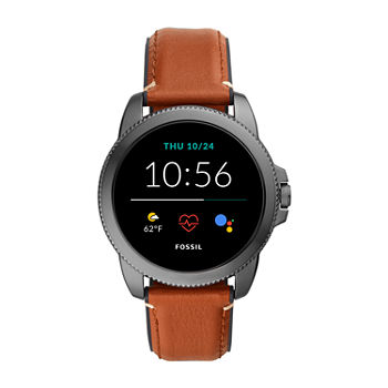 Fossil Smartwatches Gen 5e Mens Brown Leather Smart Watch-Ftw4055