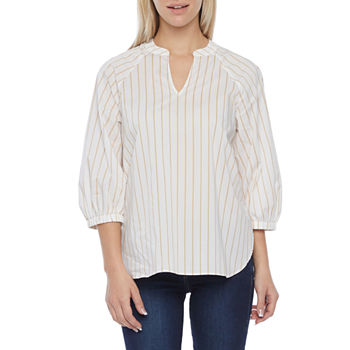 Worthington Womens Y Neck Long Sleeve Poplin Blouse