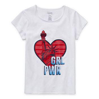 City Streets Little & Big Girls Scoop Neck Short Sleeve Graphic T-Shirt