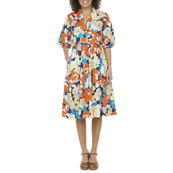 52seven 3/4 Sleeve Floral Midi Fit & Flare Dress