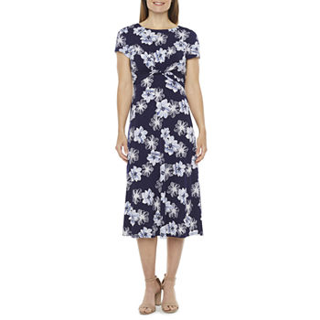 Jessica Howard Short Sleeve Floral Puff Print Midi Fit & Flare Dress