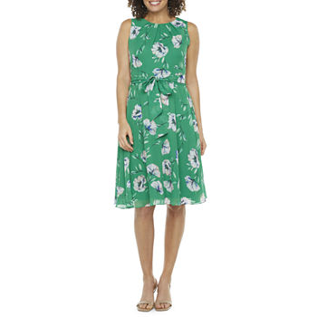 Jessica Howard-Petite Sleeveless Floral Fit & Flare Dress