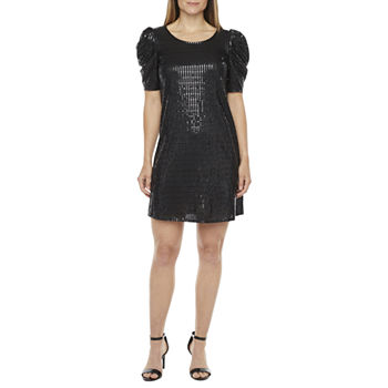 MSK Short Sleeve Embellished Swing Dresses