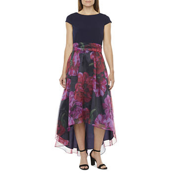 S. L. Fashions Short Sleeve Floral High-Low Evening Gown