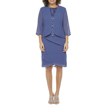 Maya Brooke 3/4 Sleeve Embellished Jacket Dress