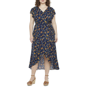 a.n.a-Plus Short Sleeve Floral High-Low Wrap Dress