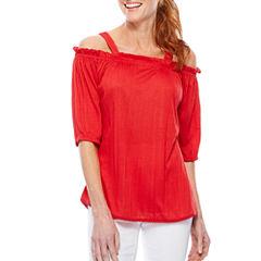 Sag Harbor Denim And Chambray 3/4 Sleeve T-Shirt-Womens