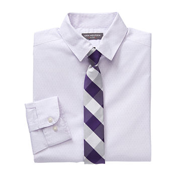 Van Heusen Flex Little & Big Boys Point Collar Long Sleeve Shirt + Tie Set
