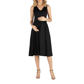 24/7 Comfort Apparel Fit and Flare Sleeveless Midi Dress