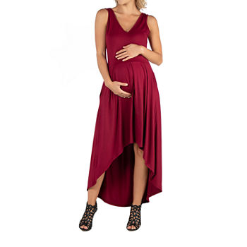24/7 Comfort Apparel Sleeveles Fit and Flare High Low Dress