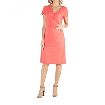 24/7 Comfort Apparel Faux Wrapover Dress with Cap Sleeves