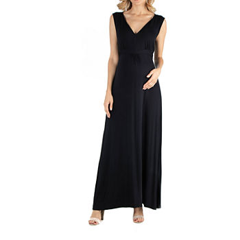 24/7 Comfort Apparel V Neck Sleeveless Maxi Dress with Belt
