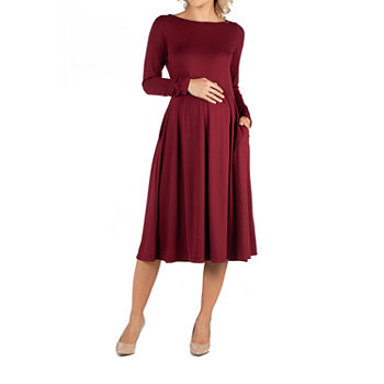 24/7 Comfort Apparel Midi Length Fit and Flare Pocket Dress - Maternity