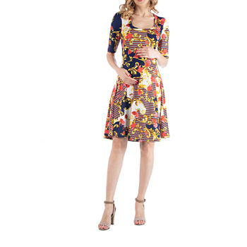 24/7 Comfort Apparel Paisley Print Fit and Flare Dress