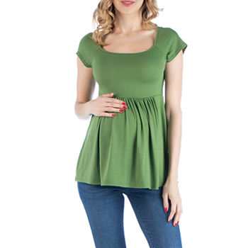 24/7 Comfort Apparel Slim Fit Babydoll Top with Cap Sleeves