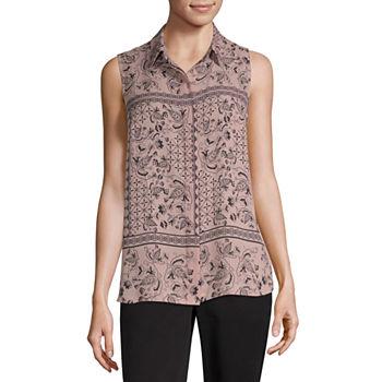 3f26b2e2b48 Liz Claiborne Womens Sleeveless Button-Front Shirt. Add To Cart. Few Left.  shop the collection