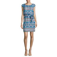 Robbie Bee Short Sleeve Blouson Dress-Petites