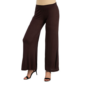 24/7 Comfort Apparel Comfortable Solid Color Palazzo Pant