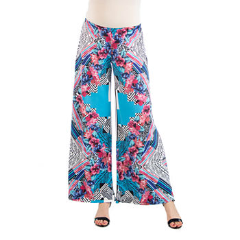 24/7 Comfort Apparel Multicolor Floral Palazzo Pant