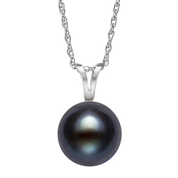 Limited Time Special!! Womens Black Cultured Freshwater Pearl Sterling Silver Pendant Necklace