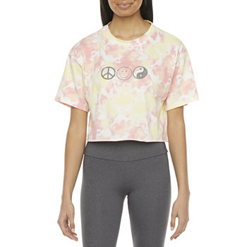 Flirtitude Juniors Womens Round Neck Short Sleeve Graphic T-Shirt