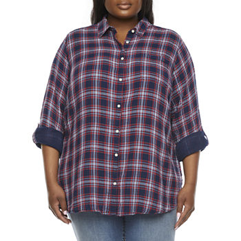 St. John's Bay-Plus Womens Long Sleeve Button-Down Shirt