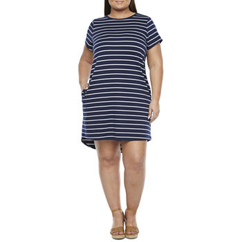 St. John's Bay-Plus Short Sleeve T-Shirt Dress