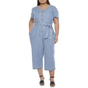 St. John's Bay Short Sleeve Belted Jumpsuit-Plus