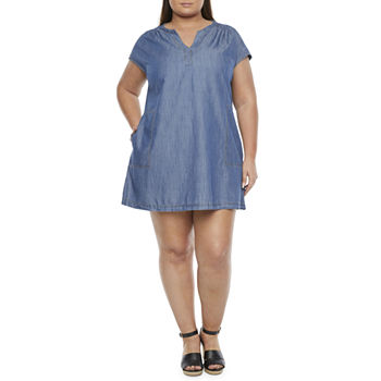 St. John's Bay-Plus Short Sleeve Shift Dress