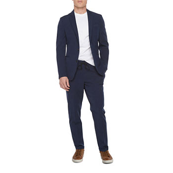 JF J. Ferrar 360 Washable Navy Mens Slim Fit Jogger Suit Separates